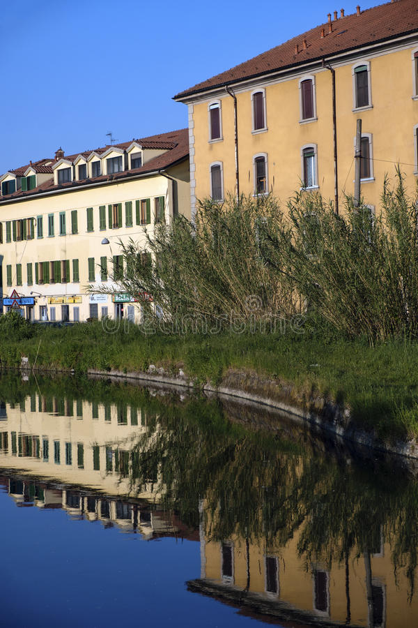 从帕尔瓦的Naviglio Pavese向米兰意大利 免版税库存图片