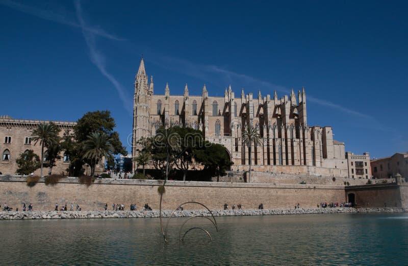 帕尔马大教堂在西班牙巴利阿里群岛 免版税库存图片