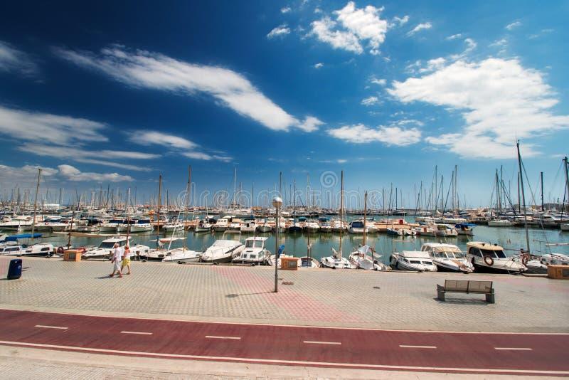 帕尔马的西班牙小游艇船坞 库存图片