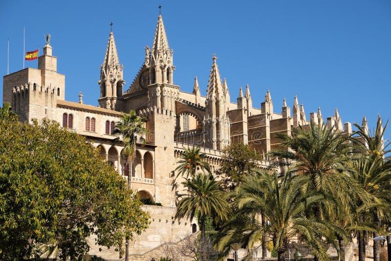 帕尔马马略卡大教堂圣玛丽亚La Seu晴朗的侧视图 库存照片