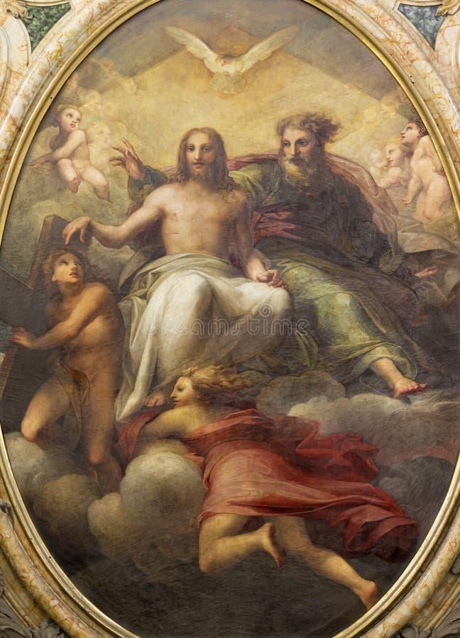 帕尔马,意大利- 2018年4月17日:三位一体绘画在tha主要法坛的在教会基耶萨di圣诞老人特里萨里 免版税库存图片