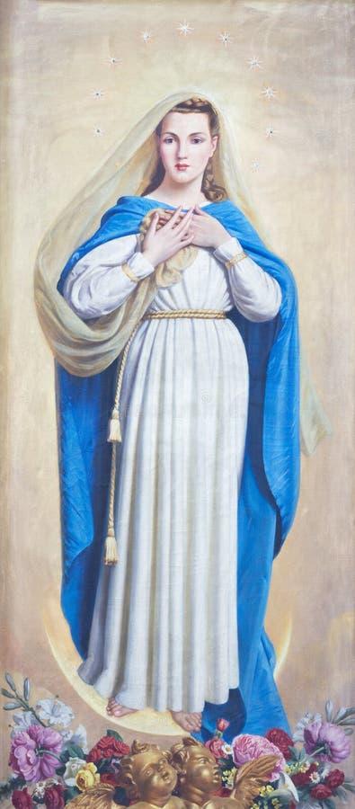 帕尔马,意大利- 2018年4月17日:圣母无染原罪瞻礼绘画在教会基耶萨di圣Uldarico里 免版税库存照片