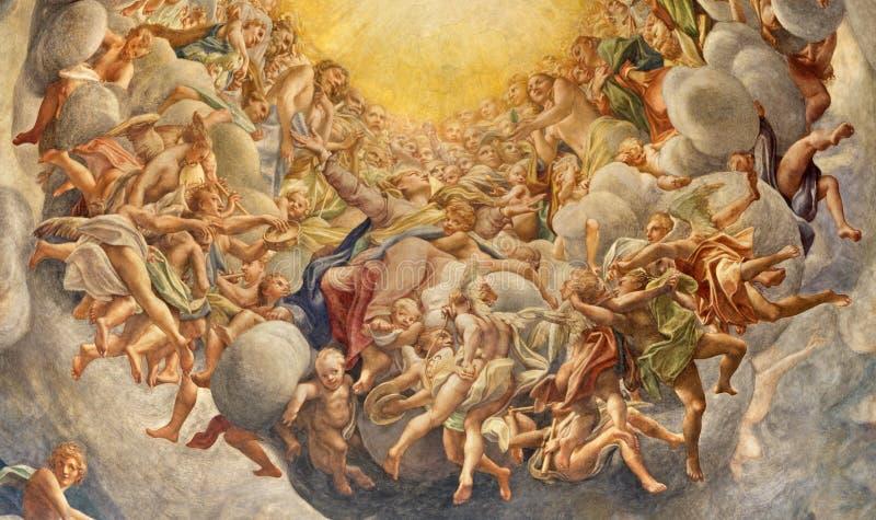 帕尔马,意大利- 2018年4月16日:圣母玛丽亚Assumpcion壁画中央寺院圆屋顶的安东尼奥Allegri 免版税库存照片
