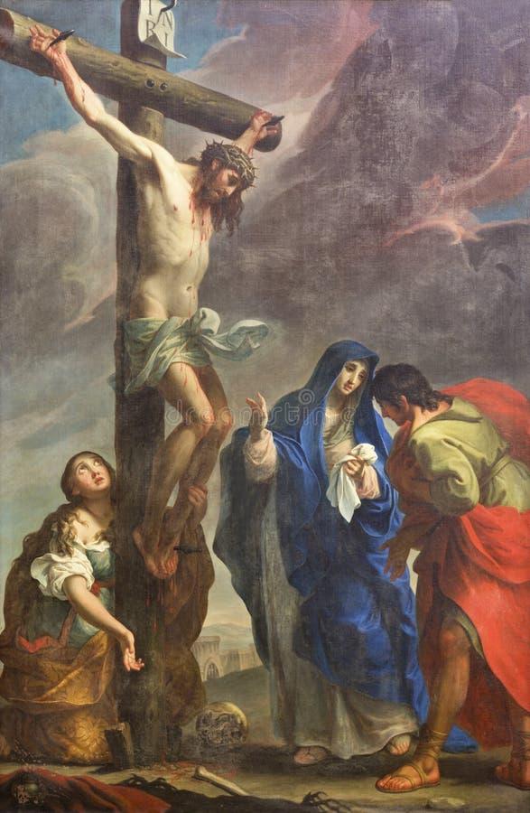 帕尔马,意大利- 2018年4月16日:在十字架上钉死绘画在教会基耶萨二圣安东尼奥的由朱塞佩Peroni消退1710 - 1776 图库摄影