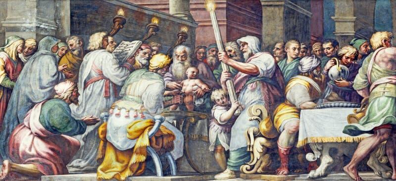 帕尔马,意大利- 2018年4月16日:壁画耶稣割除阴茎在中央寺院Lattanzio甘巴拉1567 - 1573 免版税库存照片