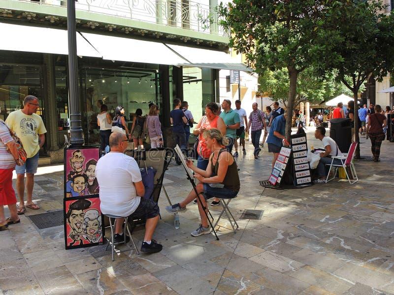 帕尔马,西班牙 老市中心的街道的看法 库存照片