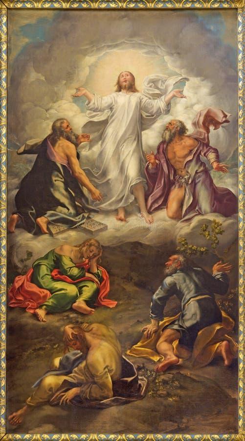 帕尔马-阁下的变貌绘画教会基耶萨二圣乔瓦尼Evangelista主要法坛的  库存照片