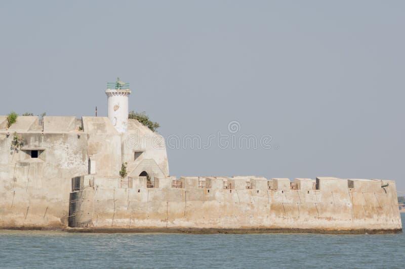 帕尼Kotha监狱石大厦在阿拉伯海中间的在Diu印度 免版税图库摄影