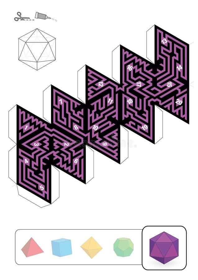 帕拉图式的坚实二十面体迷宫 向量例证