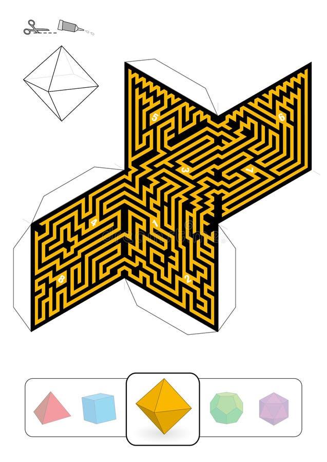 帕拉图式的坚实八面体迷宫 库存例证