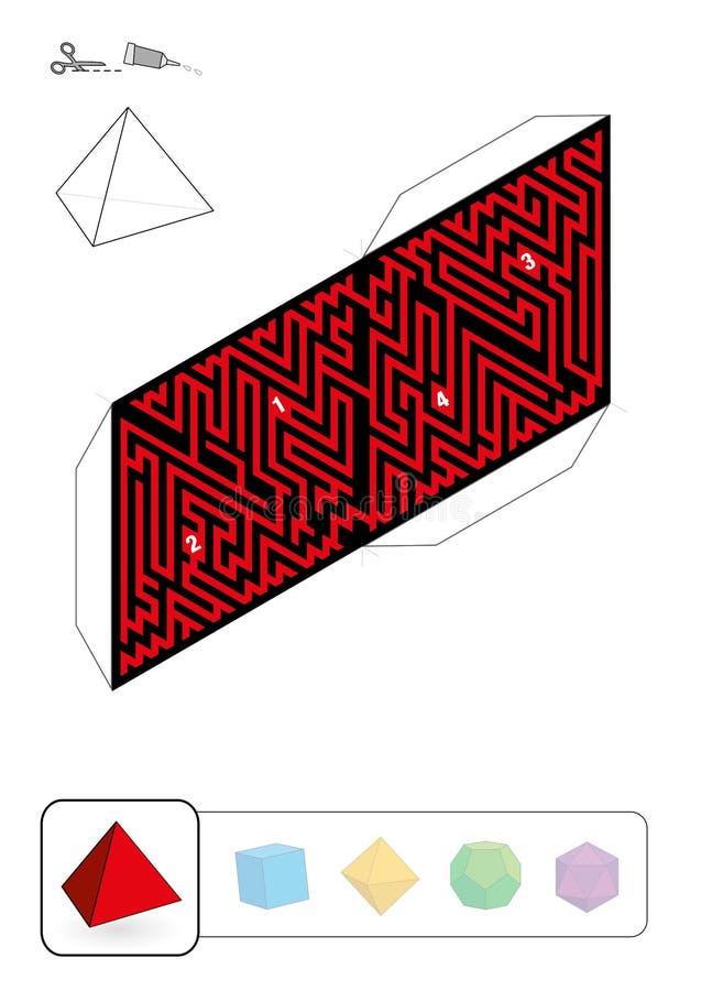 帕拉图式的坚实四面体迷宫 库存例证