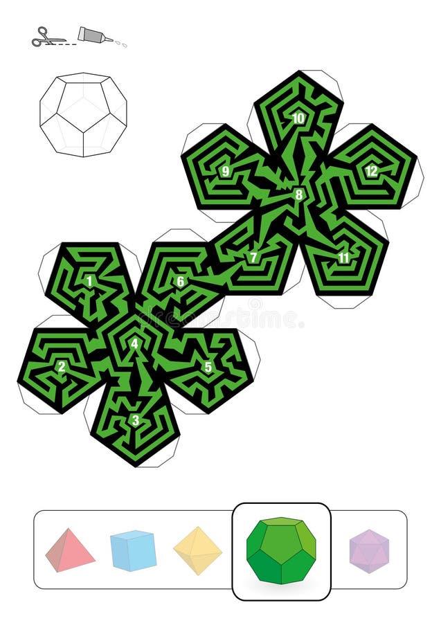 帕拉图式的坚实Dodecahedron迷宫 皇族释放例证