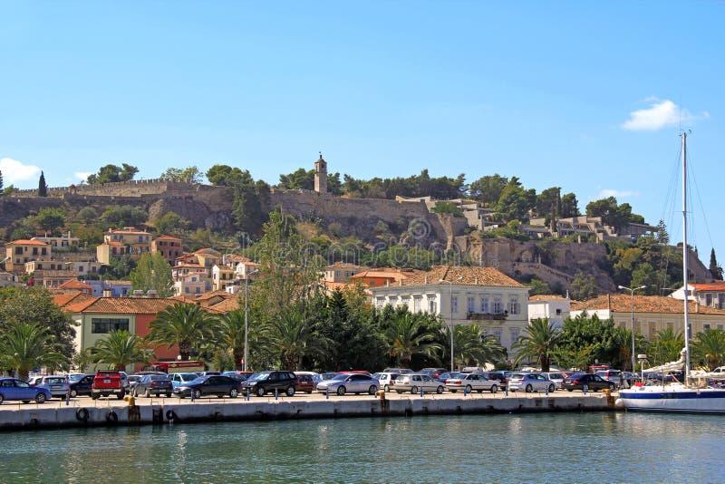 帕拉米蒂城堡城堡堡垒墙壁在Nafplion,希腊港口的  库存照片