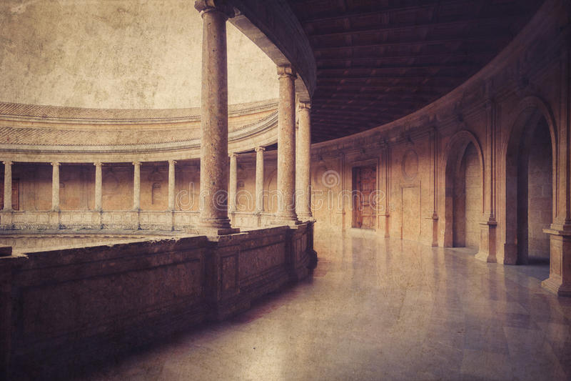 帕拉西奥在La阿尔罕布拉宫的de卡洛斯五世 格拉纳达西班牙 免版税库存图片