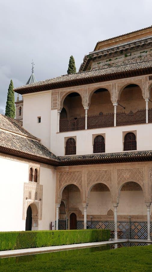 帕拉西奥在Nasrid宫殿的de科马雷斯在阿尔罕布拉在格拉纳达,安大路西亚 库存图片
