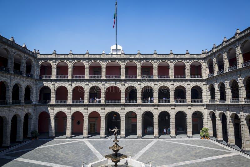 帕拉西奥纳雄奈尔,政府大厦,墨西哥城,墨西哥 免版税图库摄影