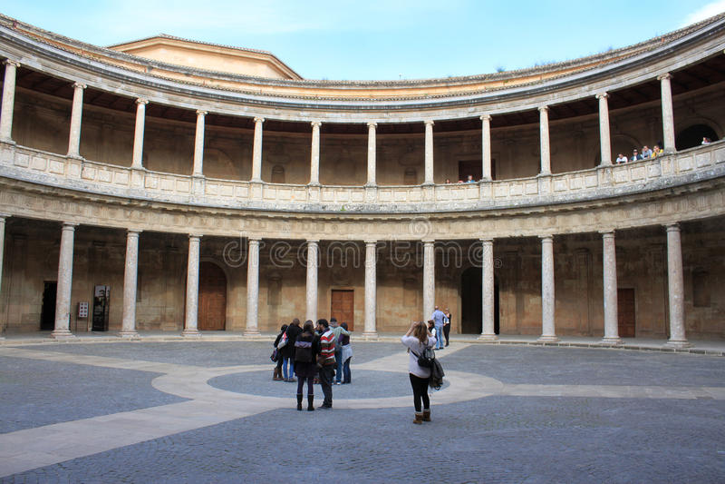 帕拉西奥de卡洛斯五世在阿尔罕布拉宫,西班牙 库存图片