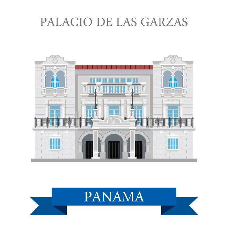 帕拉西奥de在巴拿马传染媒介平的吸引力地标的Las Garzas 向量例证