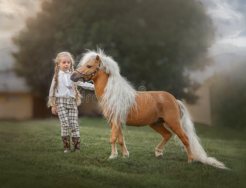 帕洛米诺小马保险日的小女孩 免版税库存照片