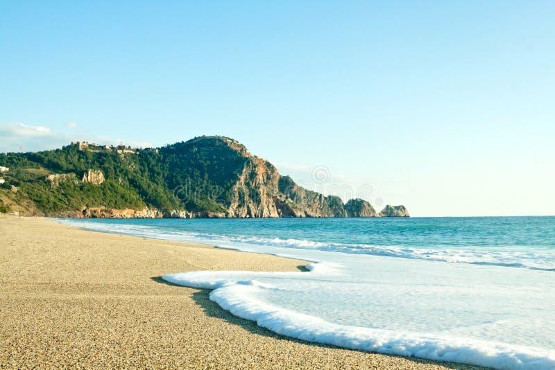 帕特拉海滩Kleopatra海滩在阿拉尼亚,土耳其 免版税库存图片