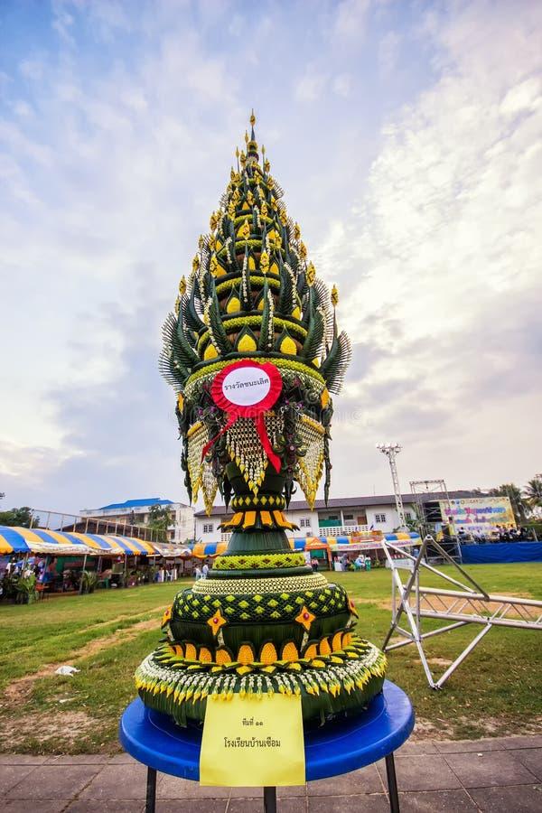 帕纳Baisi,仪式的香蕉叶子在泰国 免版税库存照片