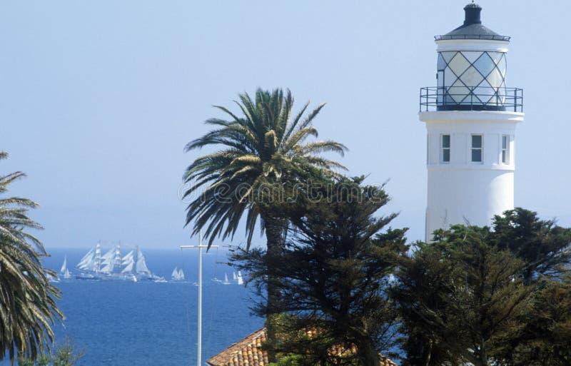 帕洛斯Verdes在北部长滩,加州的路灯塔 免版税库存照片