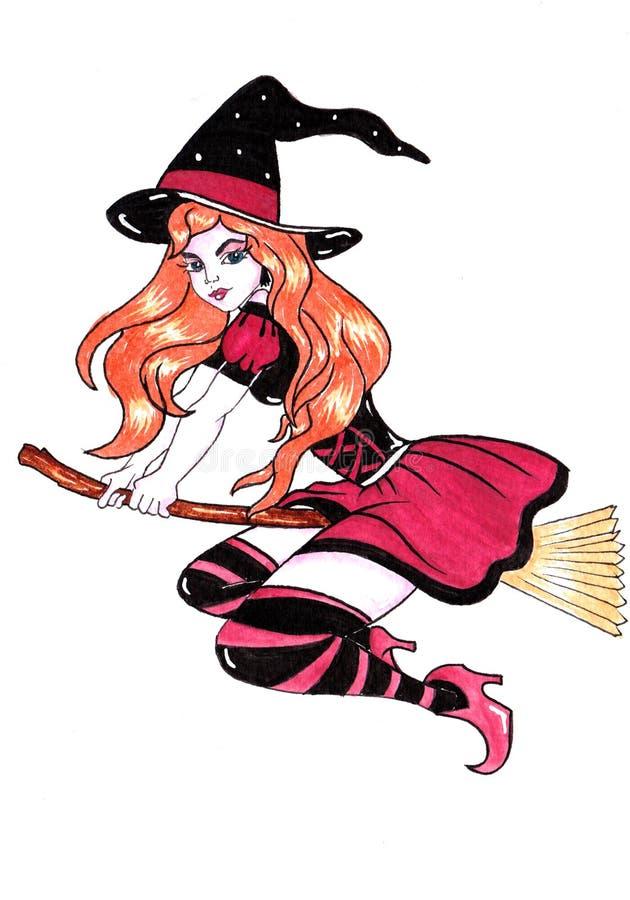 帚柄万圣夜水彩绘画的巫婆 免版税库存照片