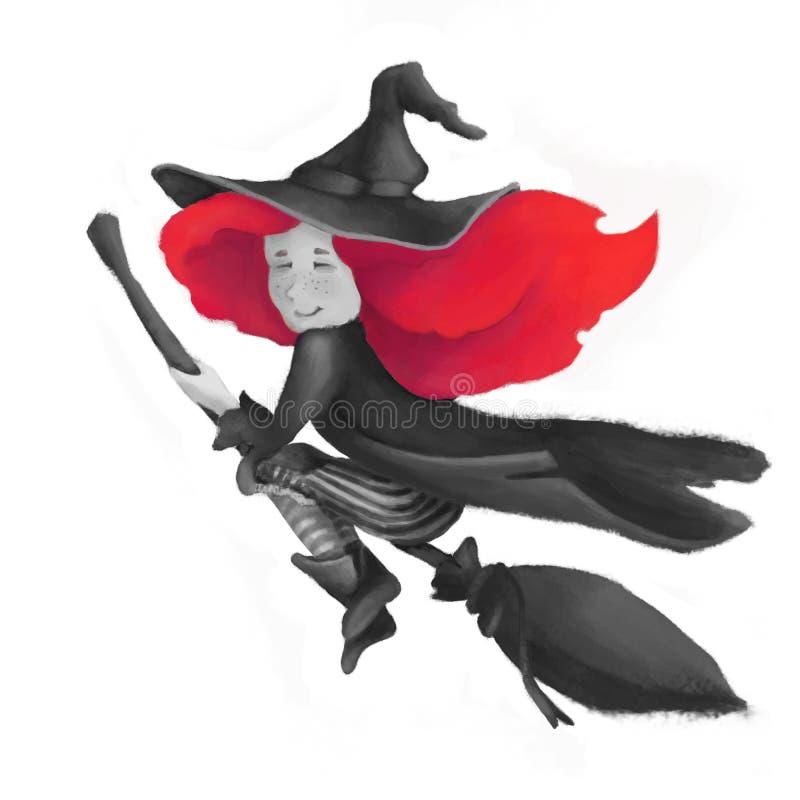 帚柄的一个小逗人喜爱的巫婆 有红色头发和帽子的一个女孩 例证在边缘背景被隔绝 向量例证