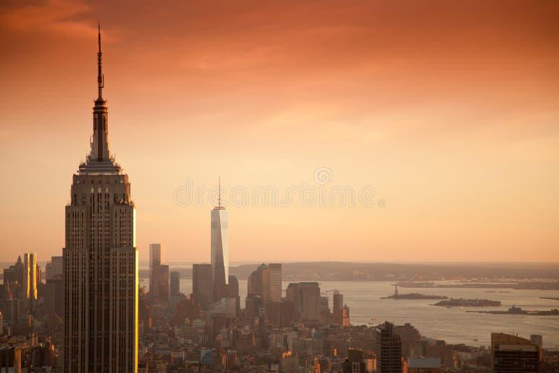 帝国大厦和世界贸易中心 免版税库存照片