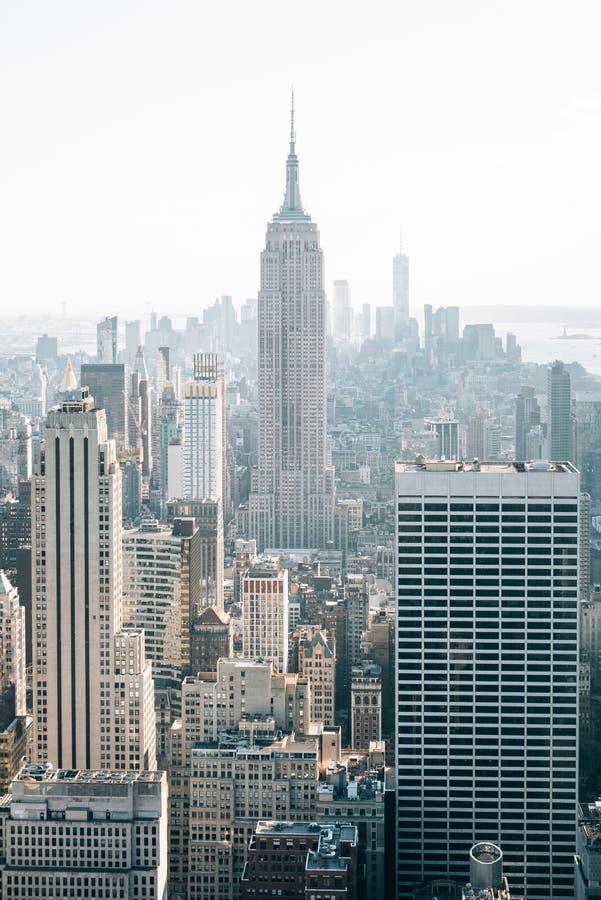 帝国大厦和曼哈顿中城地平线,在纽约 免版税库存照片