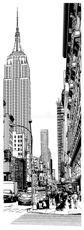 帝国大厦和第5条大道在纽约 皇族释放例证