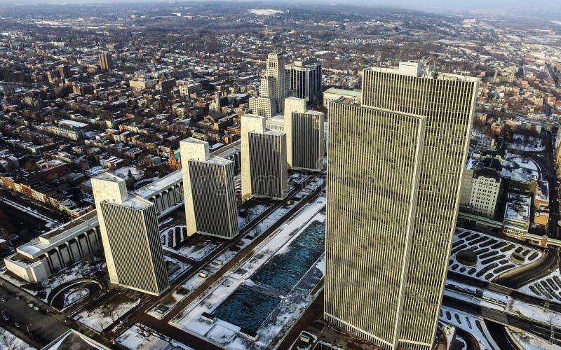 帝国状态广场天线在街市阿尔巴尼, NY 库存图片