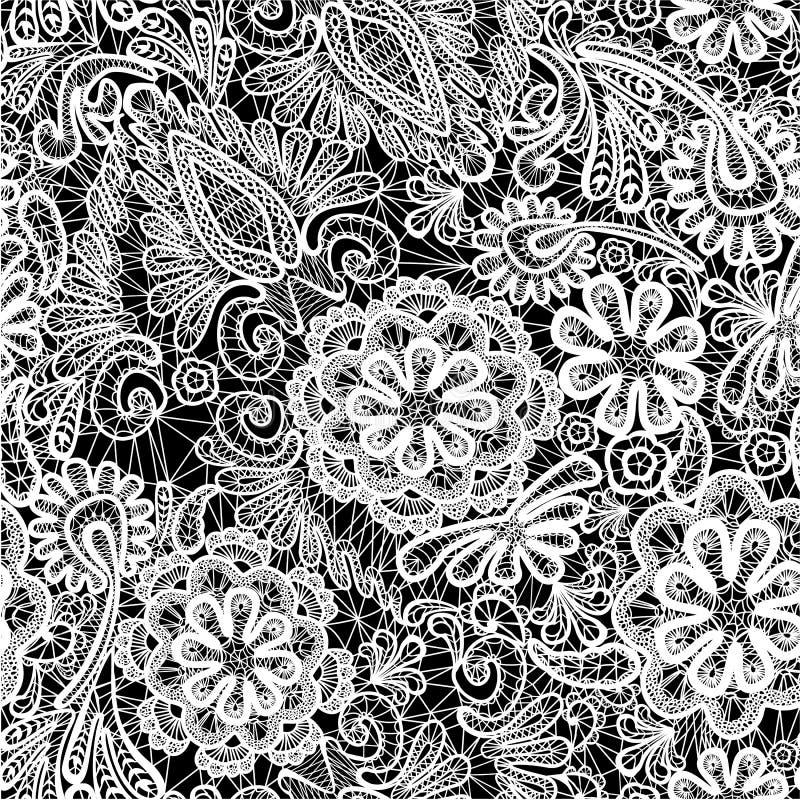 系带与花的无缝的样式-织品backgr 库存例证