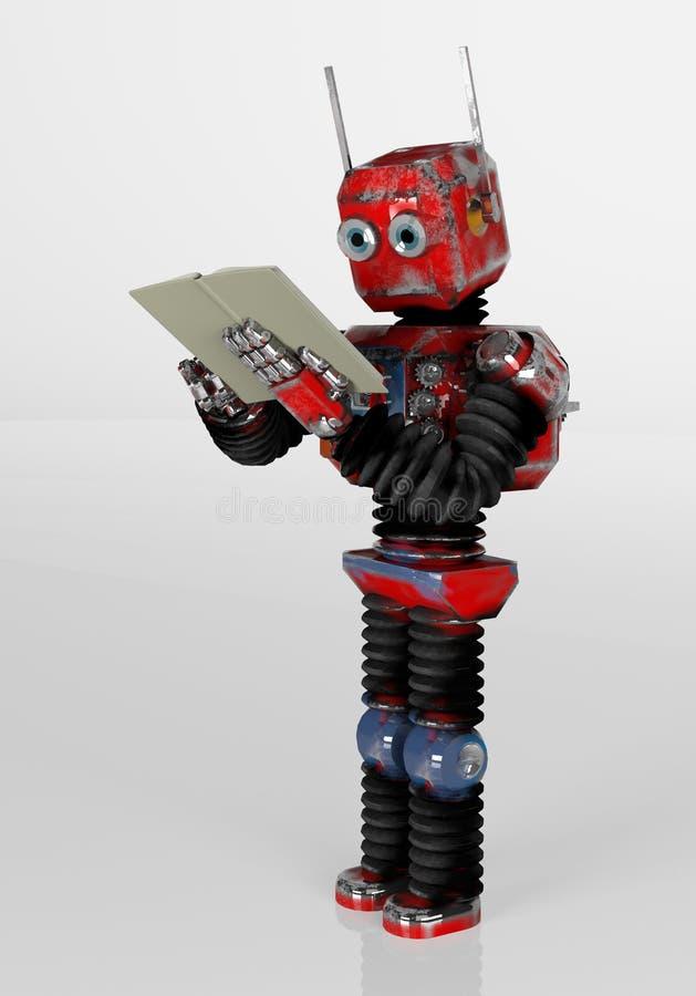 带书籍、3D渲染的复古机器人 库存例证