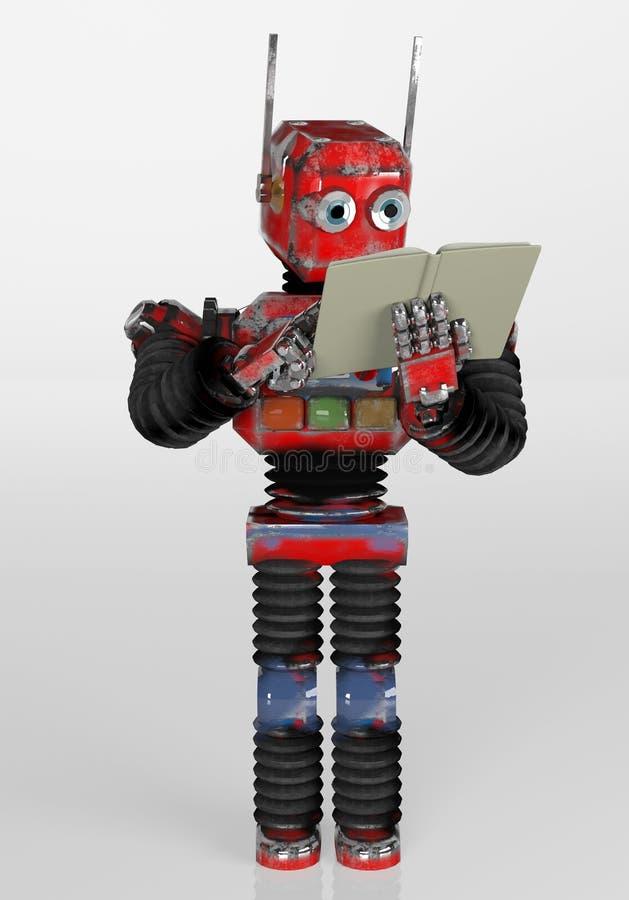 带书籍、3D渲染的复古机器人 向量例证