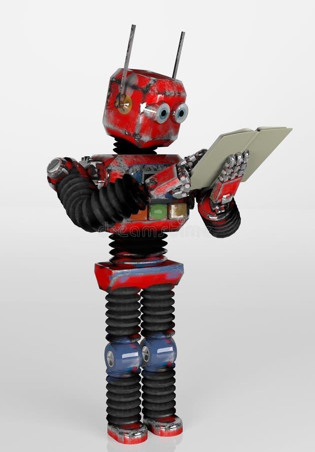 带书籍、3D渲染的复古机器人 皇族释放例证