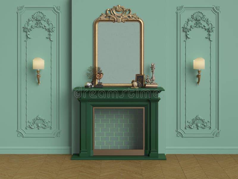 带壁炉的古典内饰 向量例证