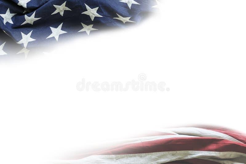 带复制空间的白色背景中的美利坚合众国国旗 免版税库存图片