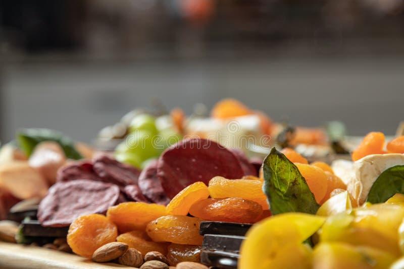 带复制空间的美食特色板 宏选择焦点 库存图片