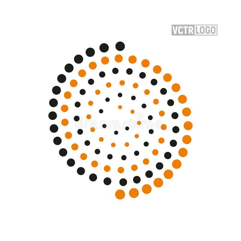 带彩色点隔离图的矢量螺旋徽标 Abstract swirl logotype 库存例证