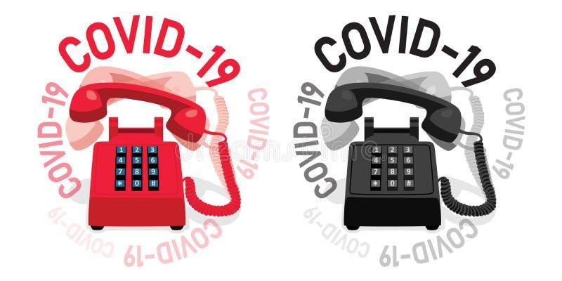 带按键键盘和COVID-19的振铃固定电话 皇族释放例证