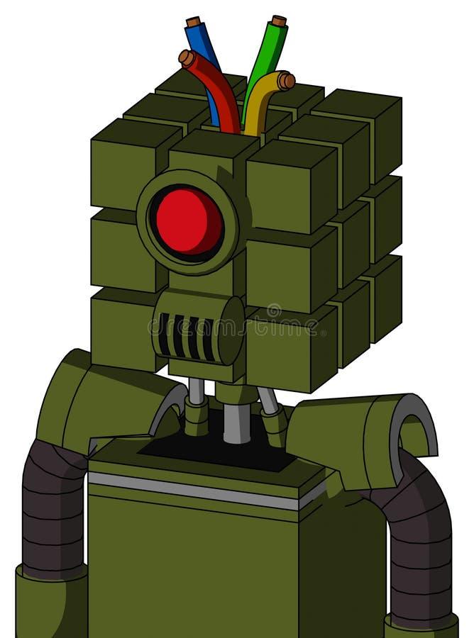 带方头和扬声器嘴、圆眼和线发的军绿自动机 库存例证