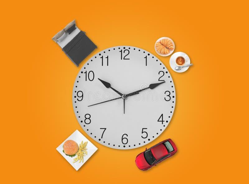带时钟的每日计划 免版税库存图片