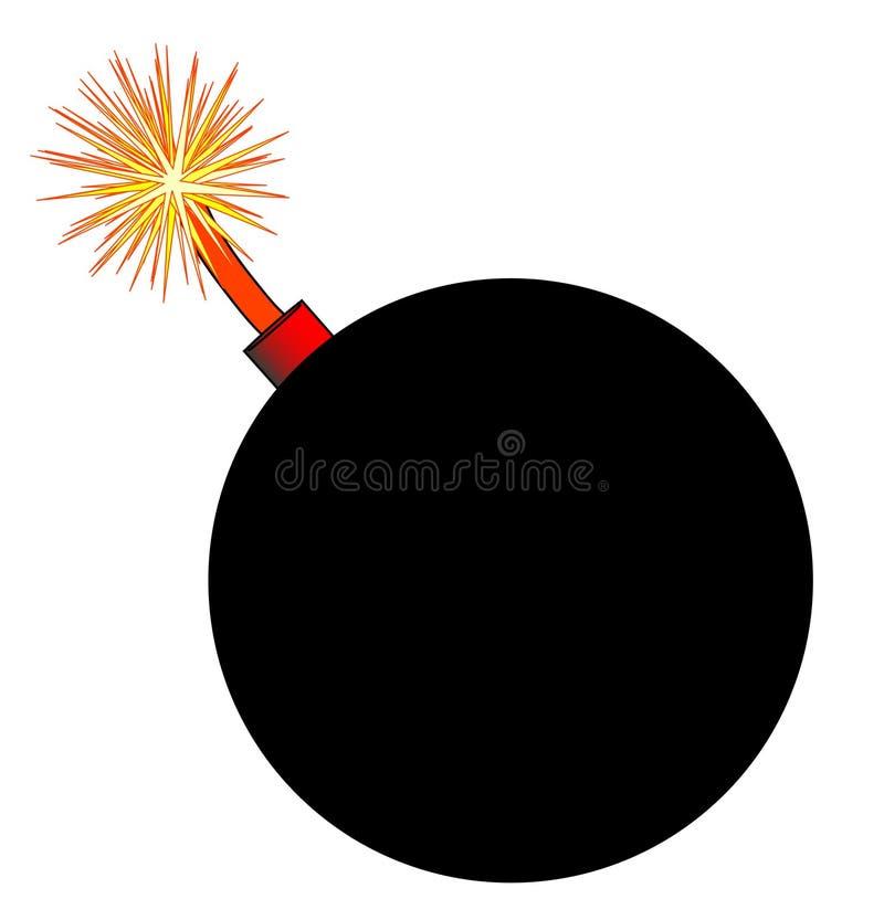 带有升保险丝的老黑动画片样式炸弹 向量例证
