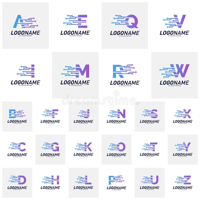 带有技术徽标设计概念的字体集 技术字母徽标图标矢量模板 图标符号 库存例证
