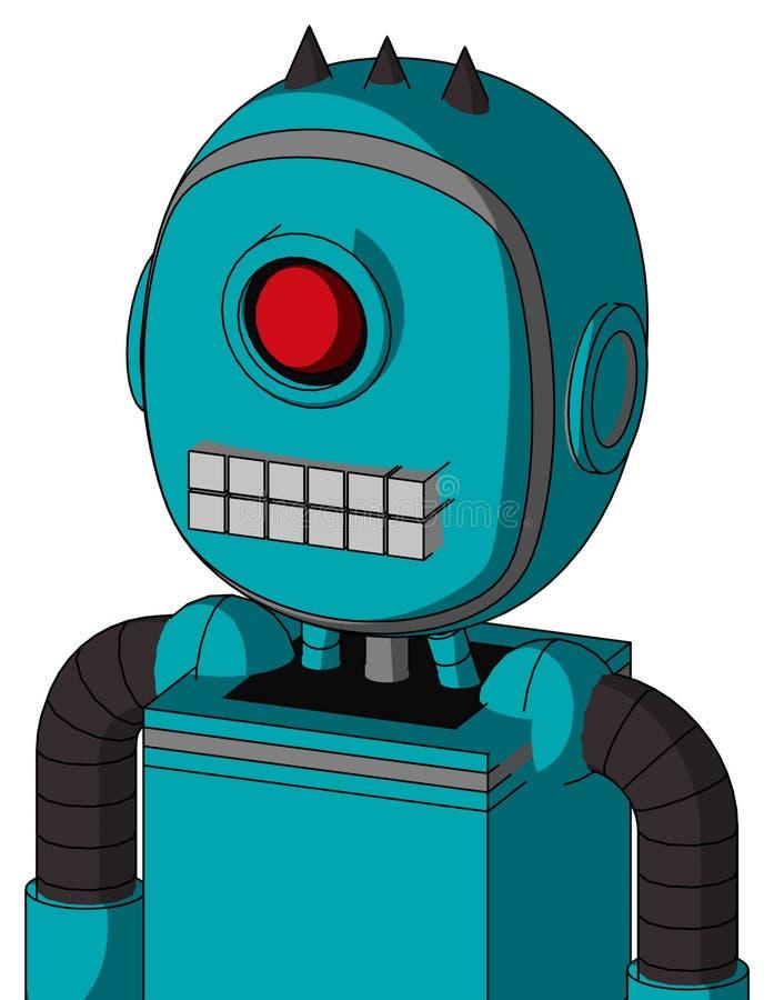 带有气泡头和键盘嘴和环眼和三个暗尖的蓝色机器人 库存例证
