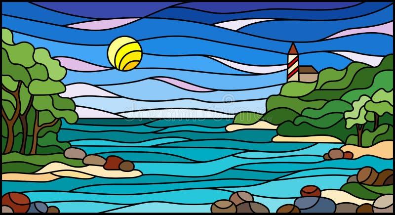 带有海景、带海和靠岸的彩色玻璃插图 皇族释放例证