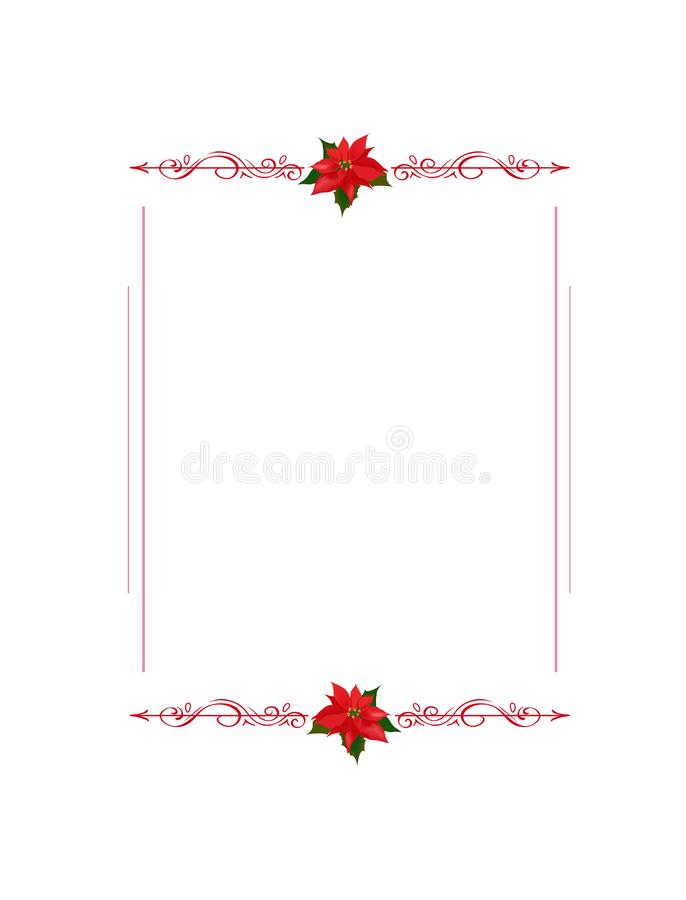 Frame with flourishes and poinsettia Christmas star flowers with copyspace for your text 皇族释放例证