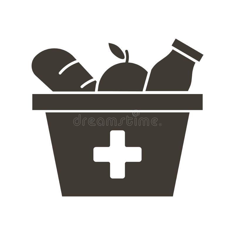 带有红十字图标的食品盒 矢量平面字形插图 食杂用品捐赠 帮助有需要的人,无家可归 库存例证