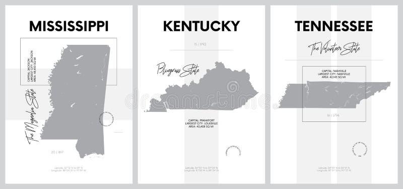 带有美国各州地图高度详细剪影的矢量海报,中南 — 密西西比分区, 向量例证
